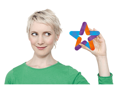 Zest exceptional icon of woman holding brightly coloured star