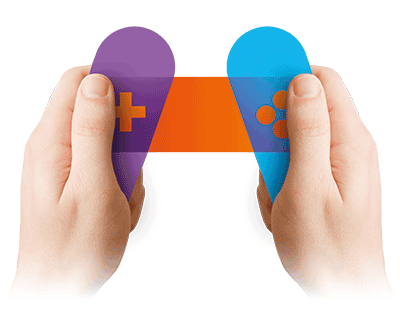 Zest game changing icon hands holding gaming controller