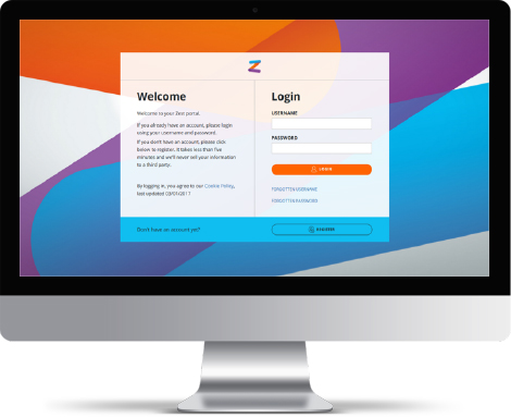 PC showing Zest branded log in screen