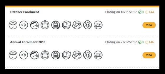 Screenshot of employee benefit selections from admin dashboard