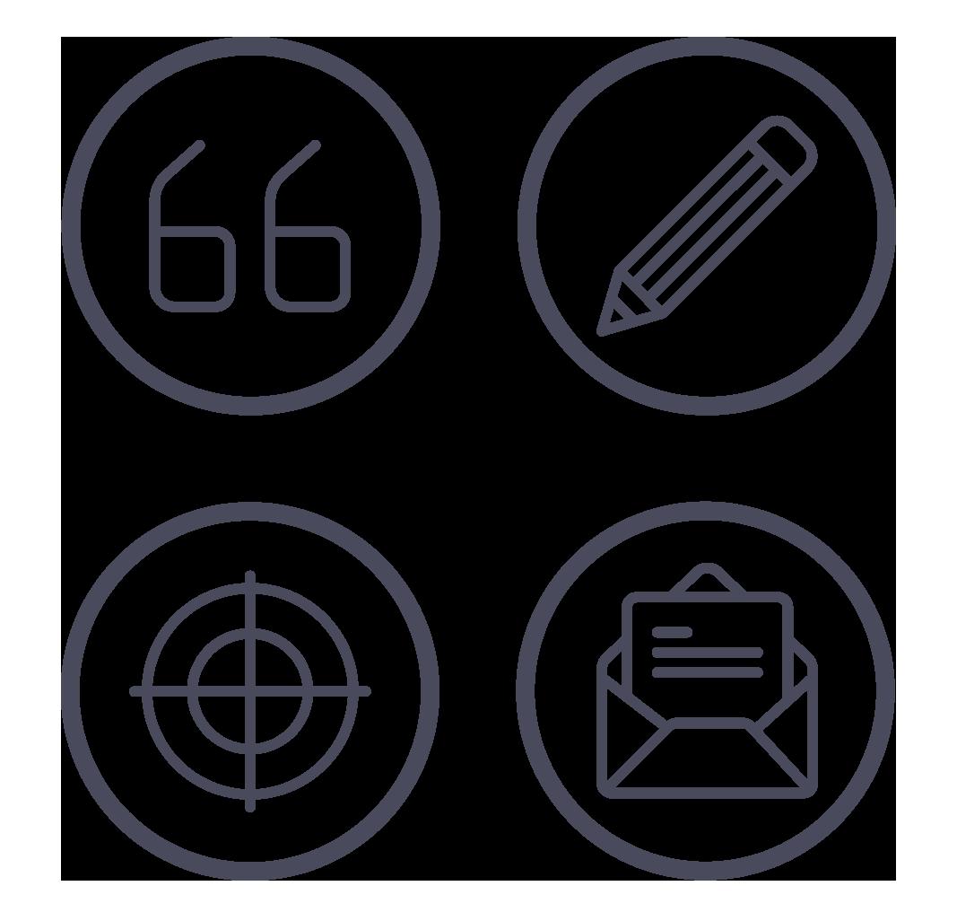 4 Circular icons depicting communications