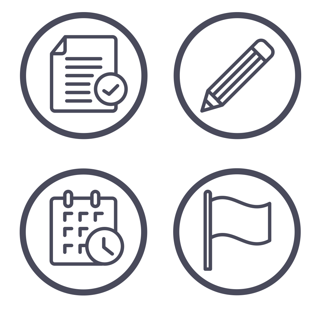 Circular icons depicting employee benefit administration