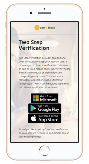 Mobile device displaying two-factor security authentication for employee benefits technology