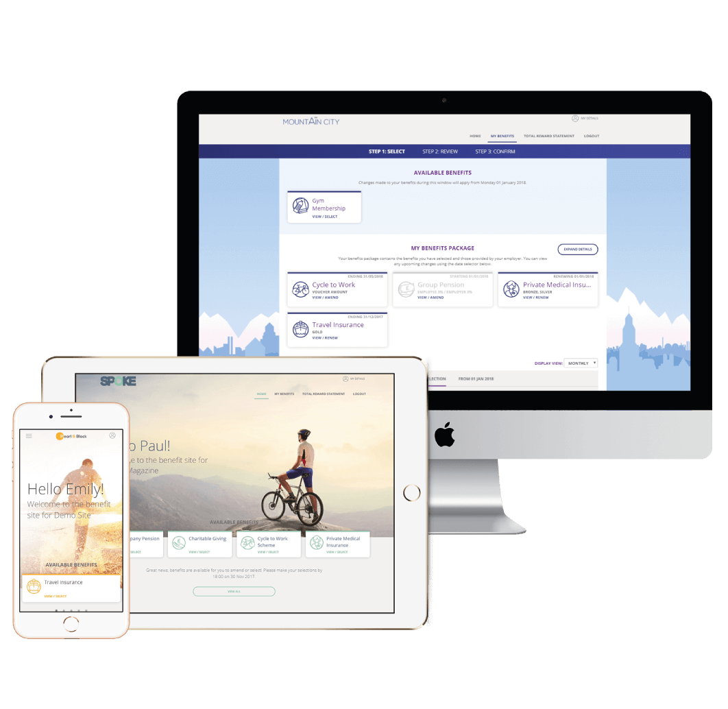 Mobile, tablet and PC displaying multiple employee benefits page designs