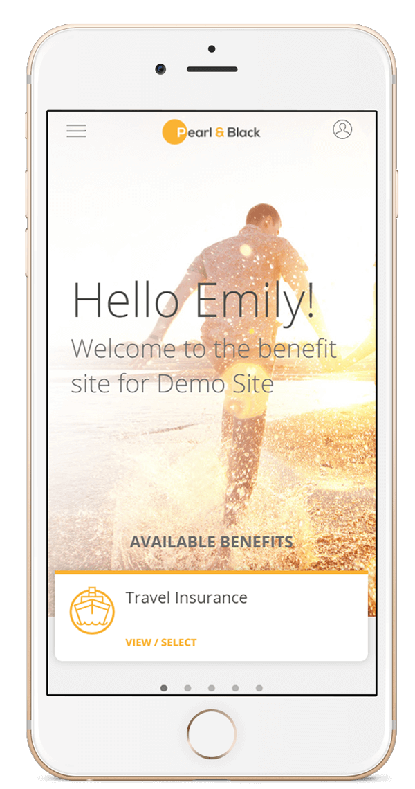 Mobile device showing Zest Employee Benefits Homepage