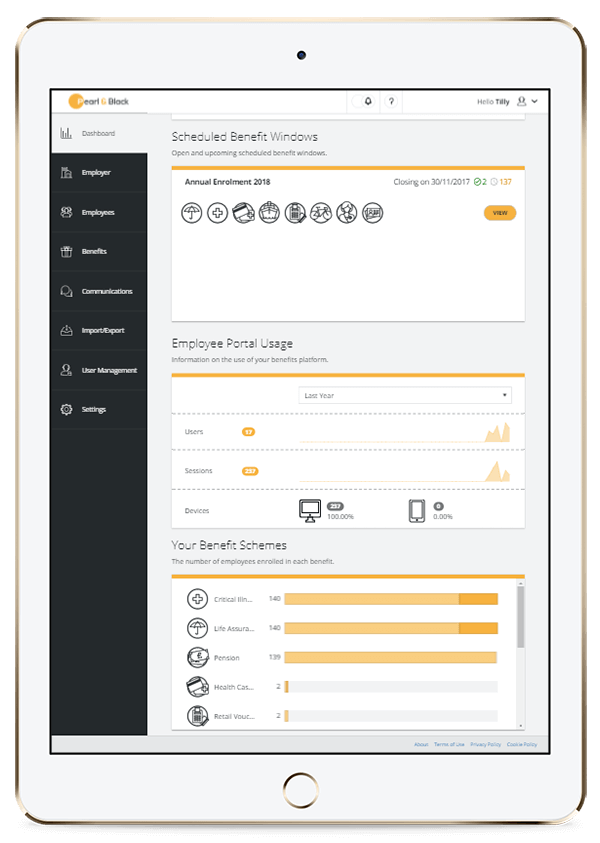 Tablet showing employer administration Dashboard for Zest