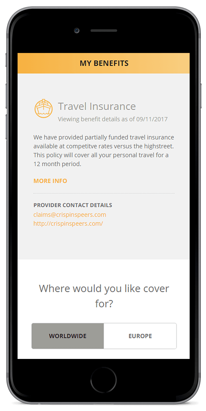Mobile device showing employee benefit selection